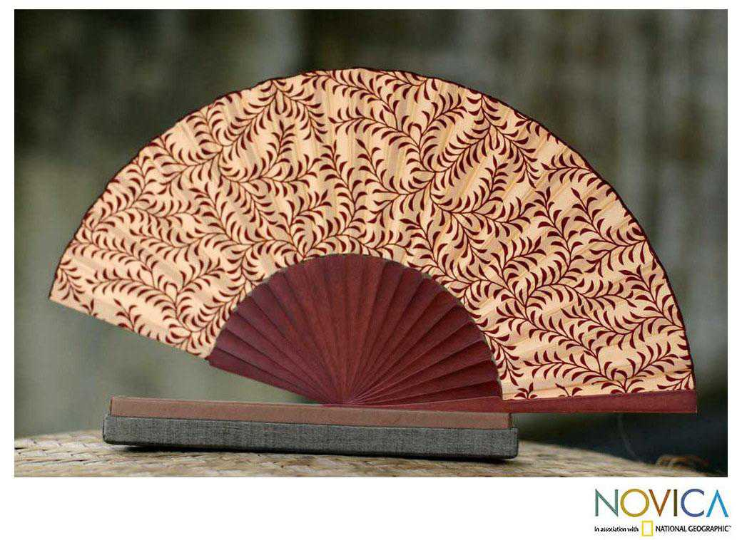 Handmade Silk 'Red Fern' Batik Fan (Indonesia)