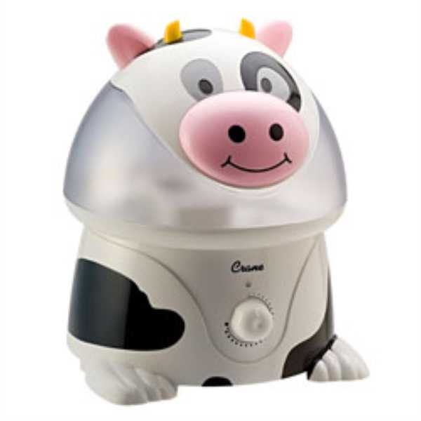 Crane EE-4140 Cow Ultrasonic Cool Mist Humidifier - WHITE/BLACK
