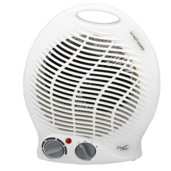 Vie Air 970100343M 1500W Portable Dual Setting White Home Fan Heater with Adjustable Thermostat