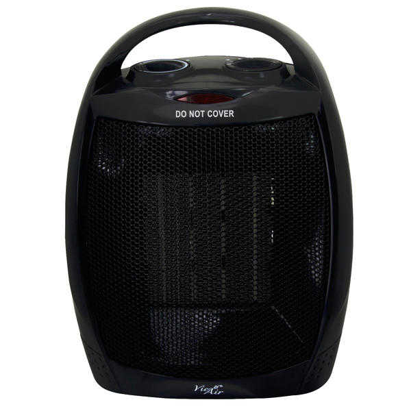 Vie Air 970100347M 1500W Portable Dual Setting Black Ceramic Heater with Adjustable Thermostat